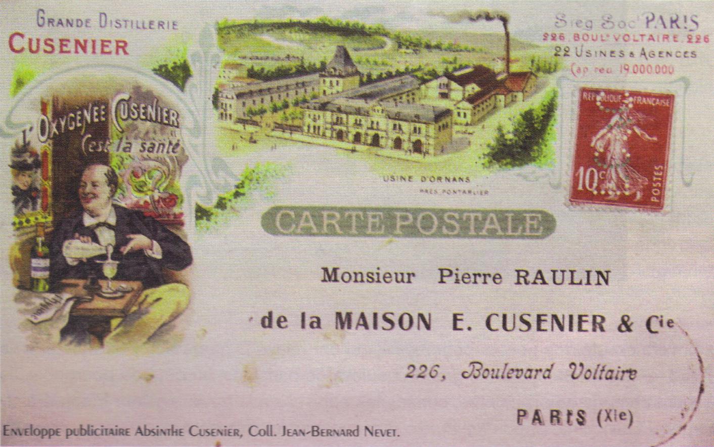 Enveloppe publicitaire absinthe Cusenier
