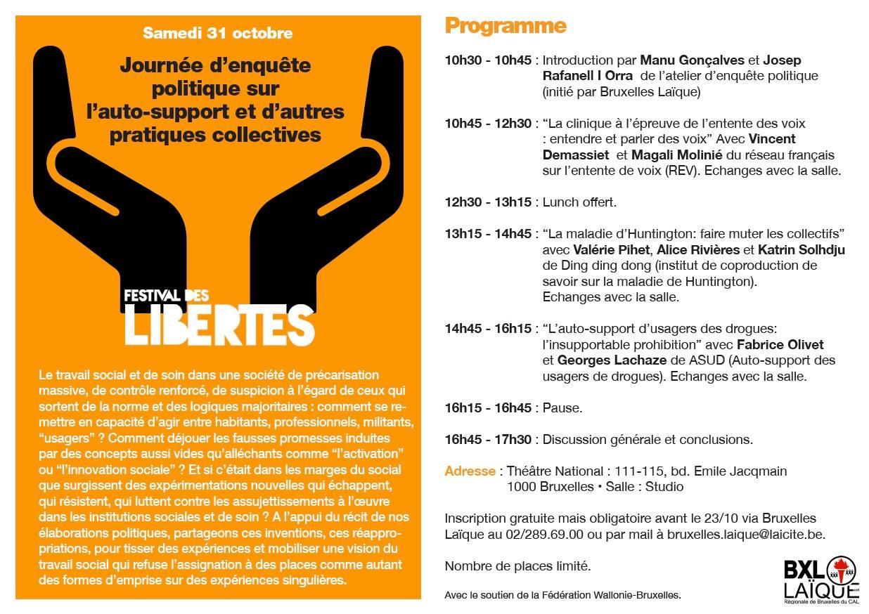 2015-10-31 Journée d'enquête sur l'autosupport Festival des Libertés Programme