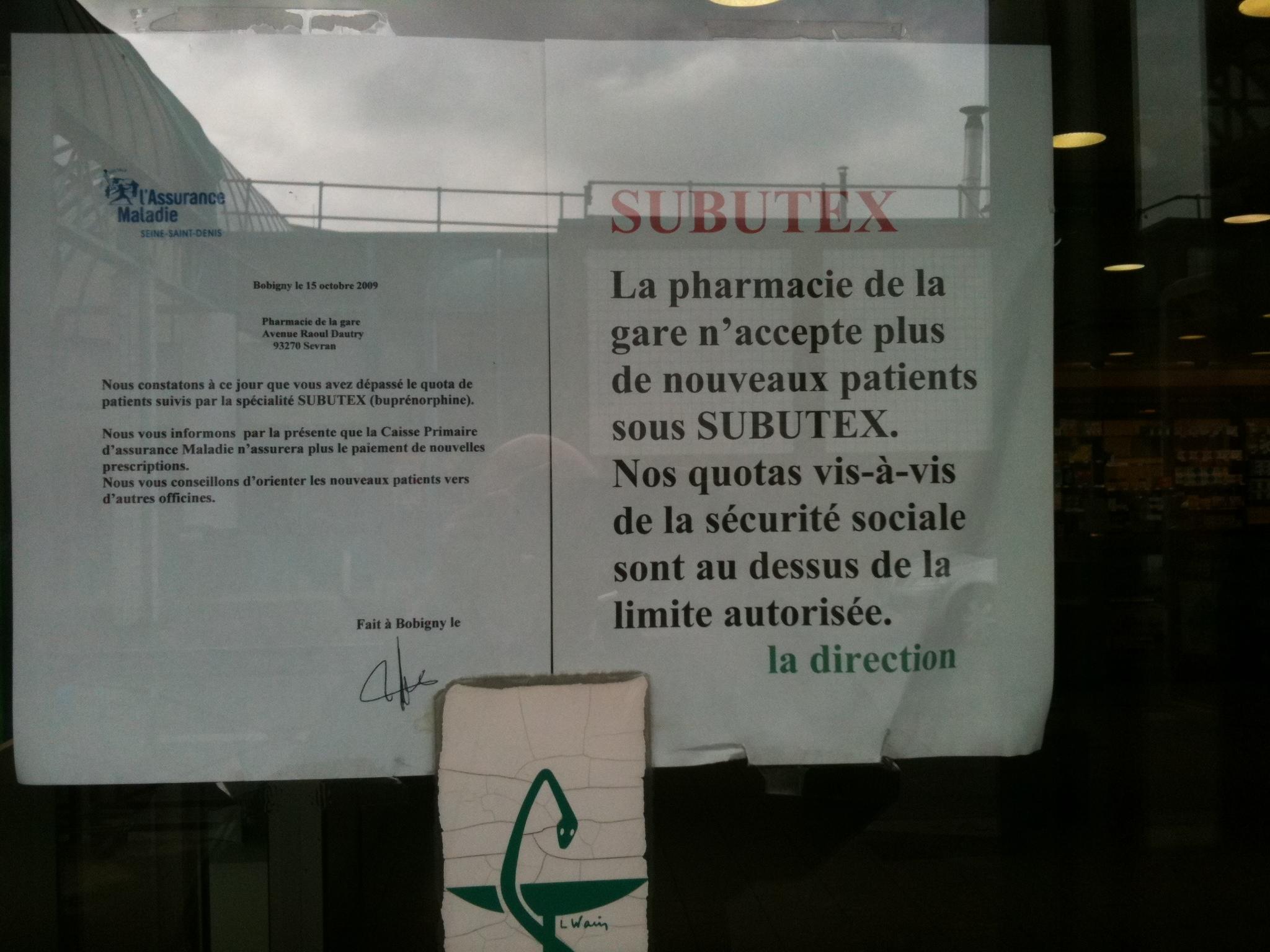 Affiche Pharmacie Subutex